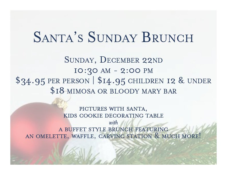 Sunday, December 22nd.  10:30am - 2pm.  $34.95 person.